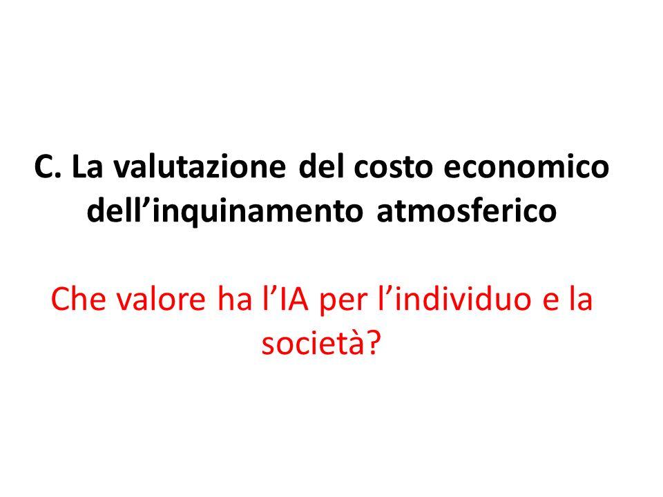 C. La valutazione del costo economico dellinquinamento atmosferico Che valore ha lIA per lindividuo e la società?