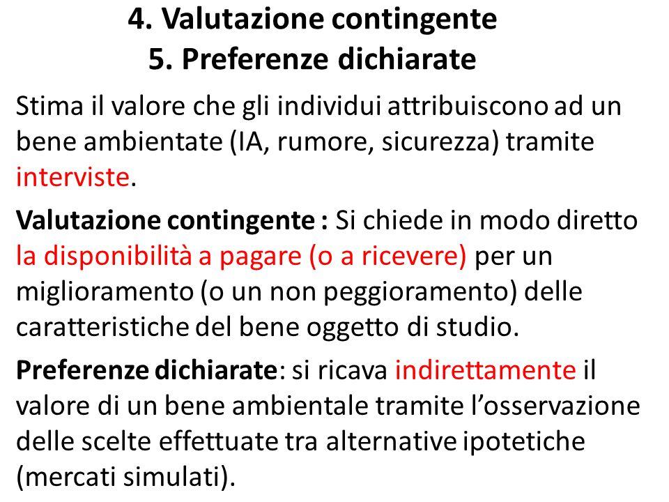 4. Valutazione contingente 5. Preferenze dichiarate Stima il valore che gli individui attribuiscono ad un bene ambientate (IA, rumore, sicurezza) tram