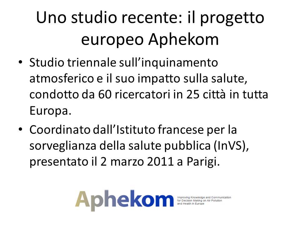 Uno studio recente: il progetto europeo Aphekom Studio triennale sullinquinamento atmosferico e il suo impatto sulla salute, condotto da 60 ricercator