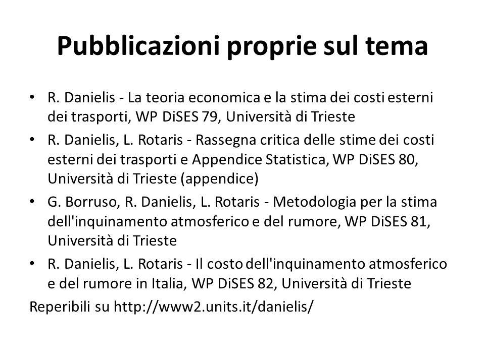Pubblicazioni proprie sul tema R. Danielis - La teoria economica e la stima dei costi esterni dei trasporti, WP DiSES 79, Università di Trieste R. Dan