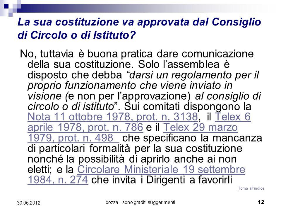 bozza - sono graditi suggerimenti12 30.06.2012 La sua costituzione va approvata dal Consiglio di Circolo o di Istituto? No, tuttavia è buona pratica d