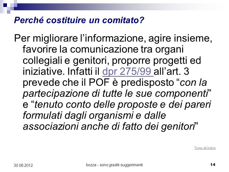 bozza - sono graditi suggerimenti14 30.06.2012 Perché costituire un comitato? Per migliorare linformazione, agire insieme, favorire la comunicazione t