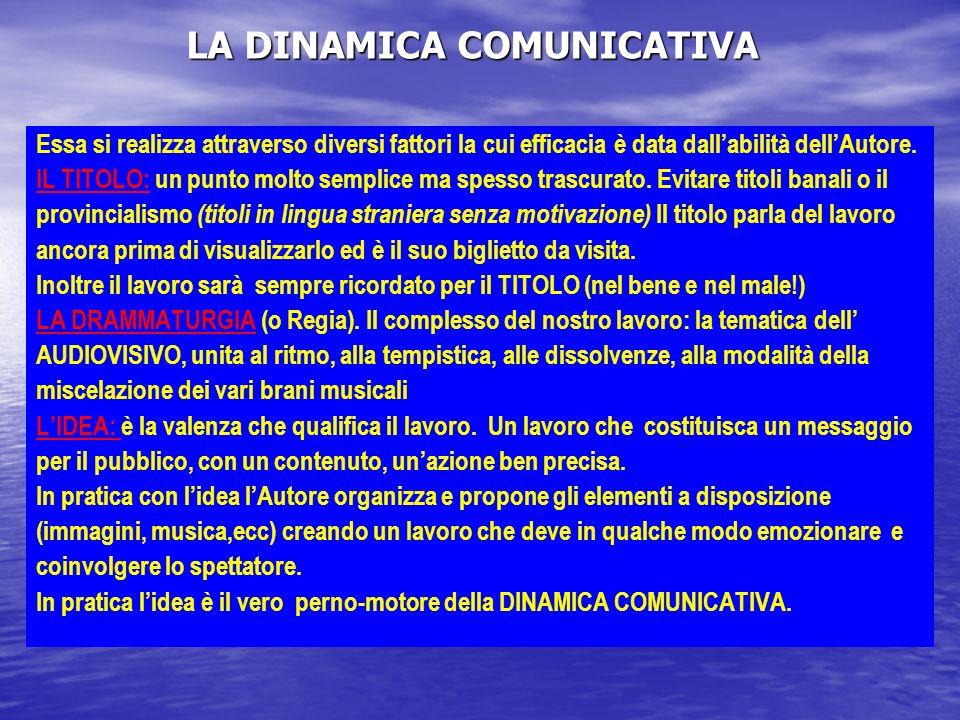 LA DINAMICA COMUNICATIVA LA DINAMICA COMUNICATIVA Essa si realizza attraverso diversi fattori la cui efficacia è data dallabilità dellAutore.