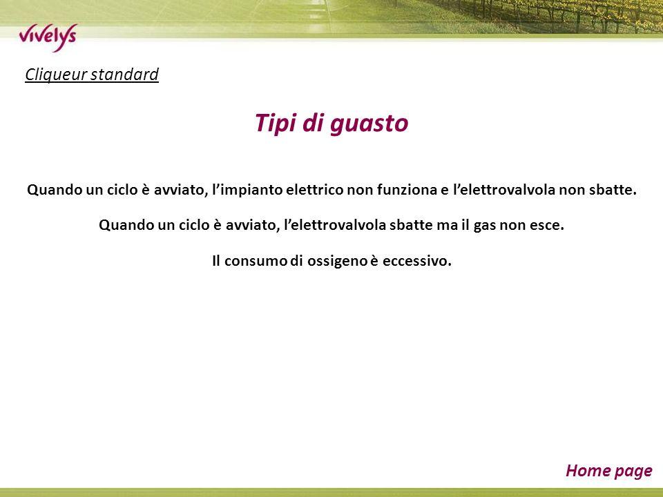 Cliqueur standard Home page Tipi di guasto Quando un ciclo è avviato, limpianto elettrico non funziona e lelettrovalvola non sbatte.