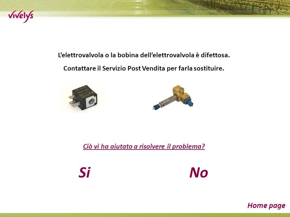 Lelettrovalvola o la bobina dellelettrovalvola è difettosa.