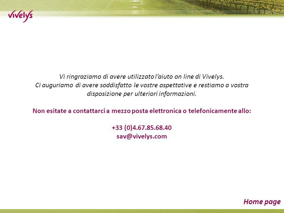 Vi ringraziamo di avere utilizzato laiuto on line di Vivelys.