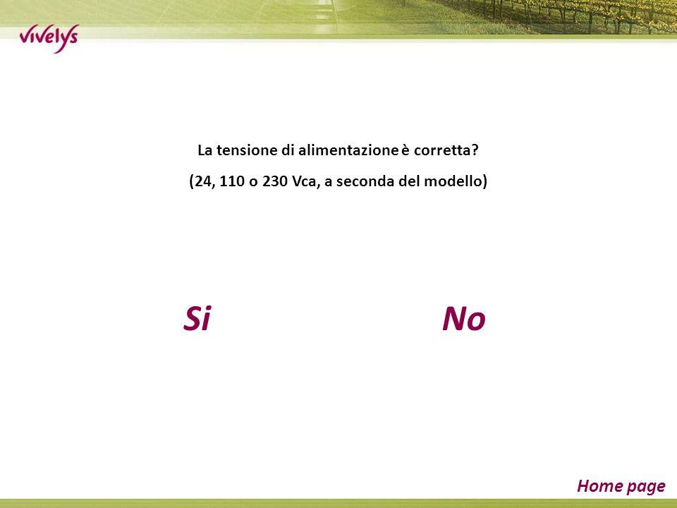 SiNo Home page La tensione di alimentazione è corretta (24, 110 o 230 Vca, a seconda del modello)