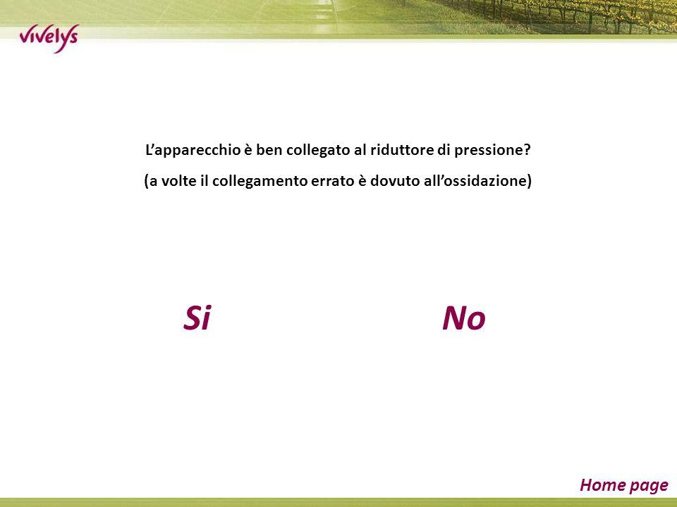 SiNo Home page Lapparecchio è ben collegato al riduttore di pressione.
