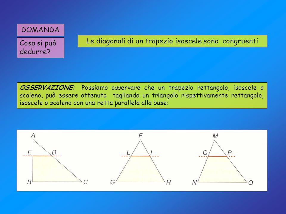 DOMANDA Cosa si può dedurre? Le diagonali di un trapezio isoscele sono congruenti OSSERVAZIONE: Possiamo osservare che un trapezio rettangolo, isoscel