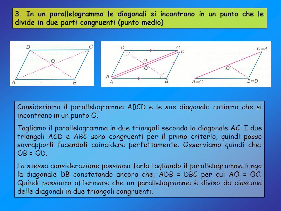 3. In un parallelogramma le diagonali si incontrano in un punto che le divide in due parti congruenti (punto medio) Consideriamo il parallelogramma AB