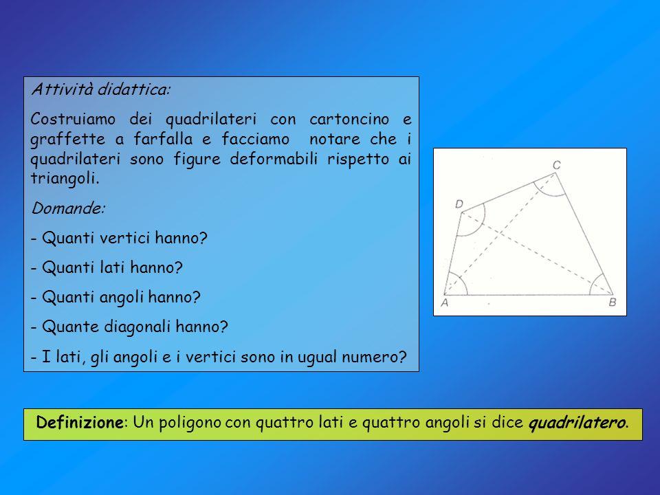 Possiamo notare che il quadrilatero può essere visto come la somma di due triangoli: La somma degli angoli interni di un quadrilatero è sempre 360°.