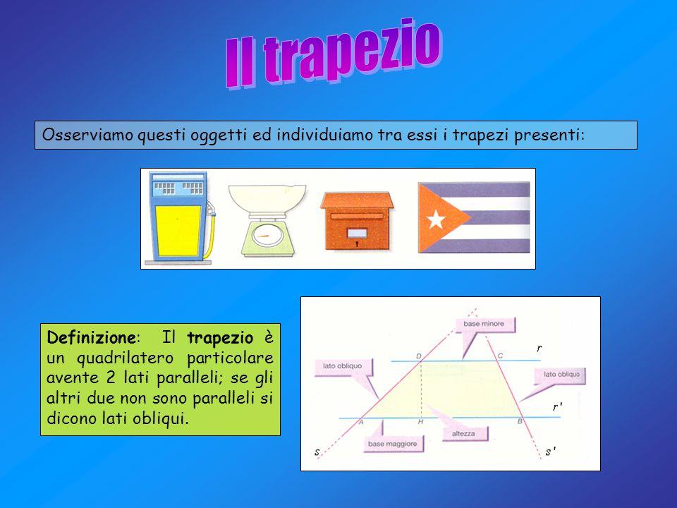 Osserviamo questi oggetti ed individuiamo tra essi i trapezi presenti: Definizione: Il trapezio è un quadrilatero particolare avente 2 lati paralleli;