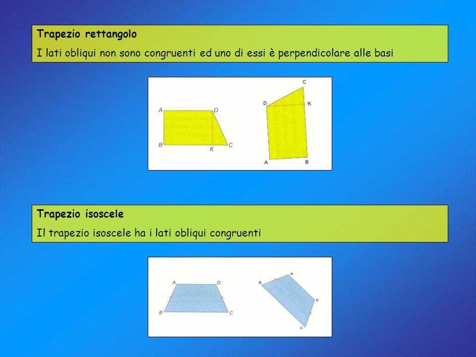 Trapezio rettangolo I lati obliqui non sono congruenti ed uno di essi è perpendicolare alle basi Trapezio isoscele Il trapezio isoscele ha i lati obli