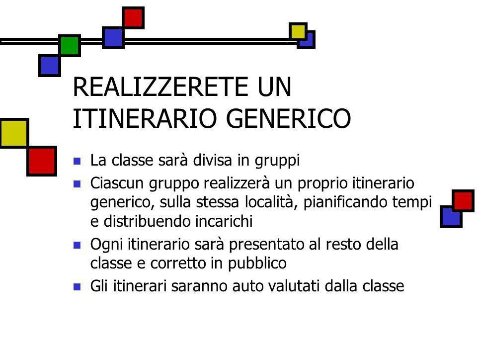 REALIZZERETE UN ITINERARIO GENERICO La classe sarà divisa in gruppi Ciascun gruppo realizzerà un proprio itinerario generico, sulla stessa località, p