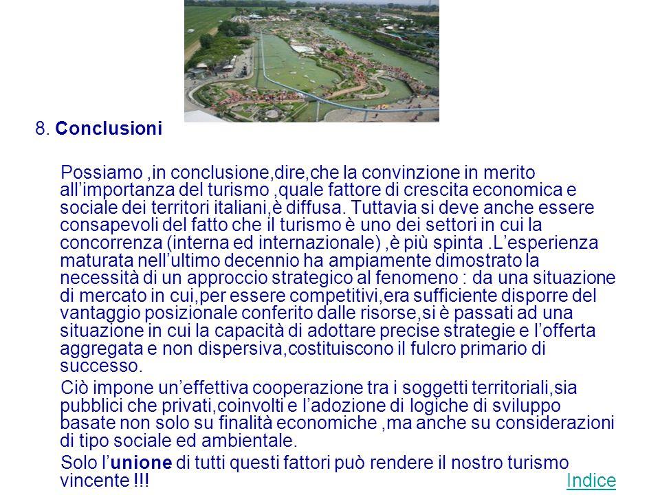 8. Conclusioni Possiamo,in conclusione,dire,che la convinzione in merito allimportanza del turismo,quale fattore di crescita economica e sociale dei t