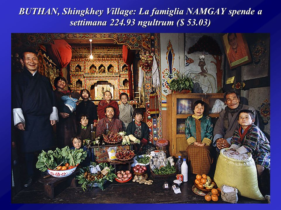 BUTHAN, Shingkhey Village: La famiglia NAMGAY spende a settimana 224.93 ngultrum ($ 53.03)