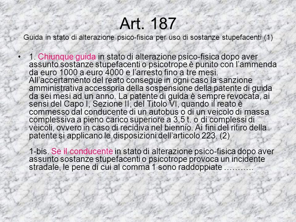 Art.186 Guida sotto l'influenza dell'alcool (1)(2) 1. È vietato guidare in stato di ebbrezza in conseguenza dell'uso di bevande alcoliche. 2. Chiunque