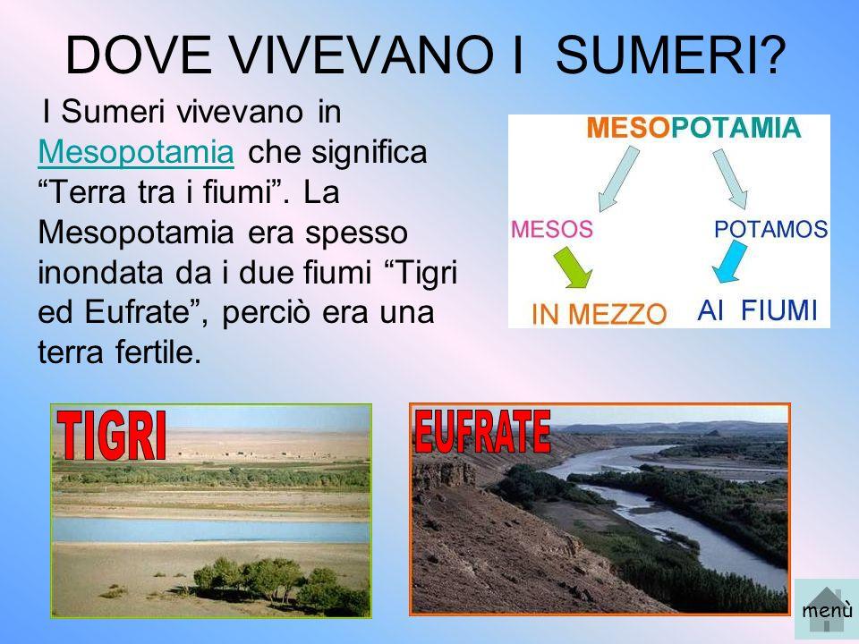 DOVE VIVEVANO I SUMERI? I Sumeri vivevano in Mesopotamia che significa Terra tra i fiumi. La Mesopotamia era spesso inondata da i due fiumi Tigri ed E