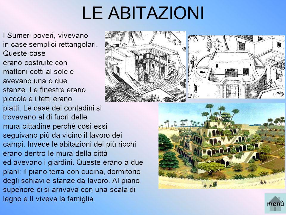 LE ABITAZIONI I Sumeri poveri, vivevano in case semplici rettangolari. Queste case erano costruite con mattoni cotti al sole e avevano una o due stanz
