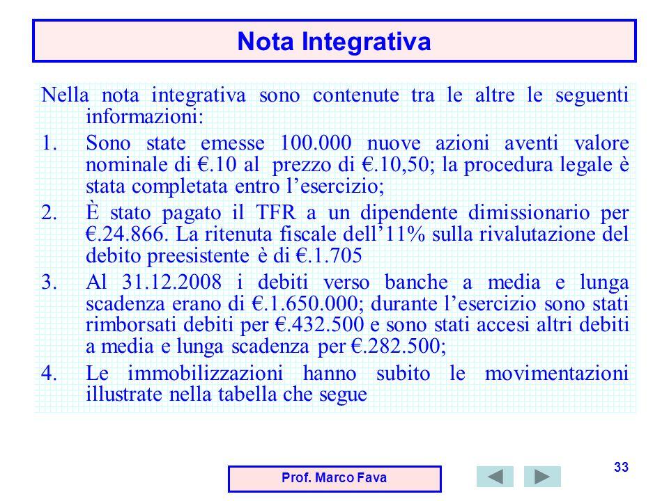 Prof. Marco Fava 33 Nota Integrativa Nella nota integrativa sono contenute tra le altre le seguenti informazioni: 1.Sono state emesse 100.000 nuove az