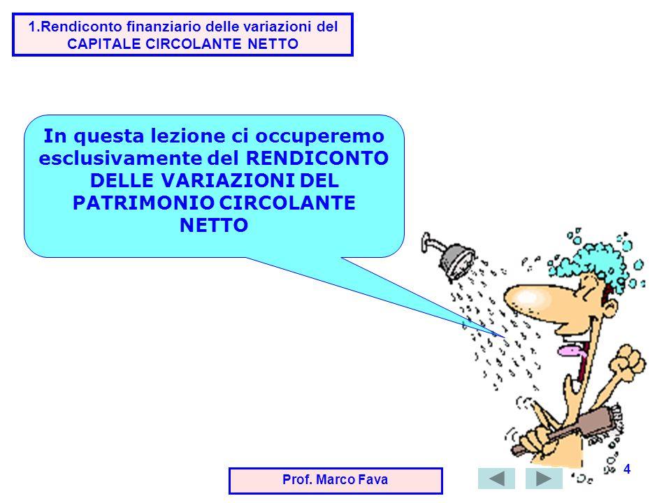 Prof.Marco Fava 15 Se aumenta o diminuisce lATTIVO IMMOBILIZZATO che cosa succede al CCN .