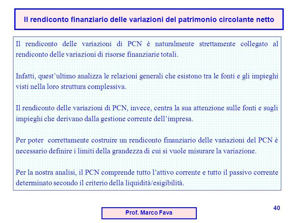 Prof. Marco Fava 40 Il rendiconto delle variazioni di PCN è naturalmente strettamente collegato al rendiconto delle variazioni di risorse finanziarie