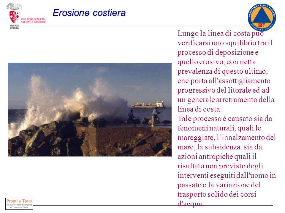 Erosione costiera Lungo la linea di costa può verificarsi uno squilibrio tra il processo di deposizione e quello erosivo, con netta prevalenza di questo ultimo, che porta all assottigliamento progressivo del litorale ed ad un generale arretramento della linea di costa.
