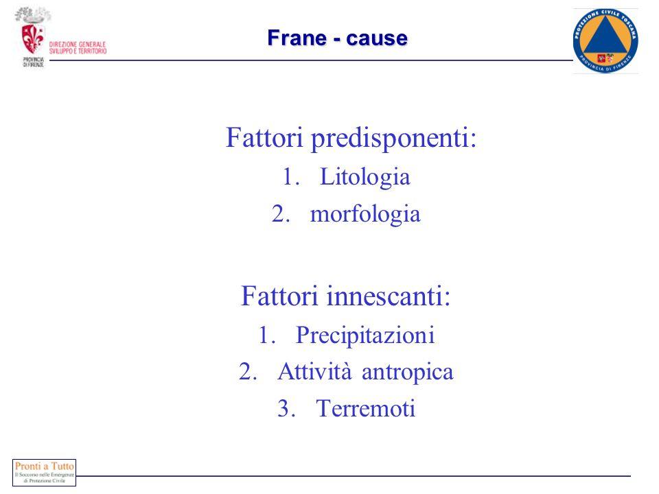 Frane - cause Fattori predisponenti: 1.Litologia 2.morfologia Fattori innescanti: 1.Precipitazioni 2.Attività antropica 3.Terremoti