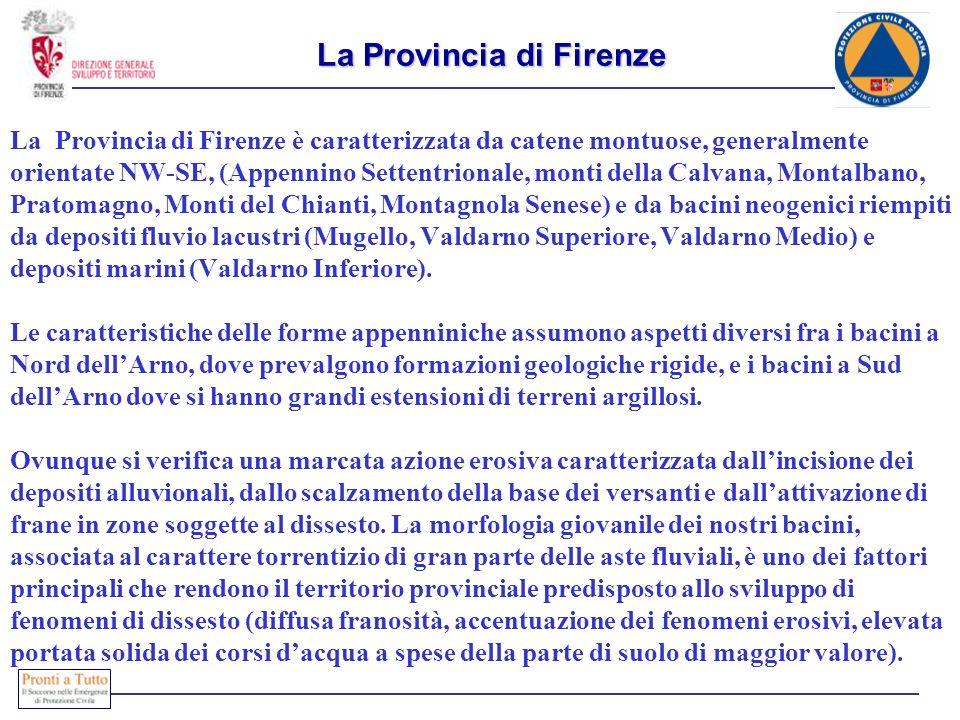 La Provincia di Firenze La Provincia di Firenze è caratterizzata da catene montuose, generalmente orientate NW-SE, (Appennino Settentrionale, monti della Calvana, Montalbano, Pratomagno, Monti del Chianti, Montagnola Senese) e da bacini neogenici riempiti da depositi fluvio lacustri (Mugello, Valdarno Superiore, Valdarno Medio) e depositi marini (Valdarno Inferiore).
