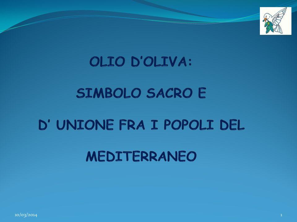SIMBOLISMO dell ULIVO e dellOLIO… I Paesi che si affacciano sul Mediterraneo sono terre di ulivi.