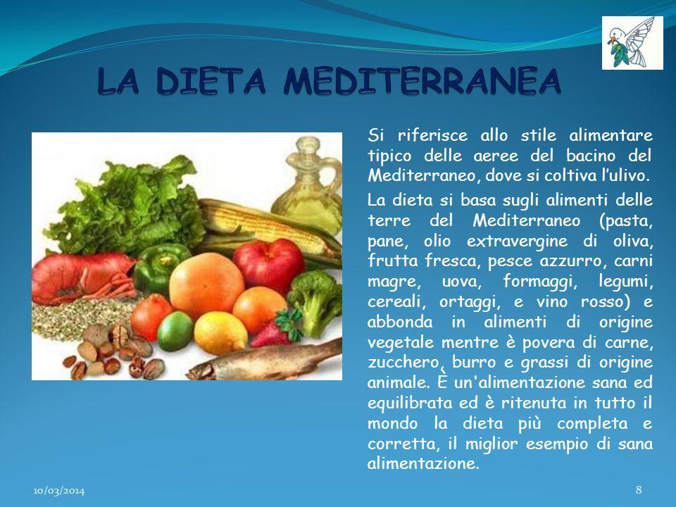Si riferisce allo stile alimentare tipico delle aeree del bacino del Mediterraneo, dove si coltiva lulivo. La dieta si basa sugli alimenti delle terre