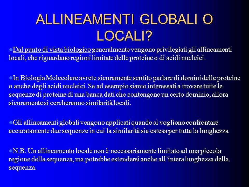 ALLINEAMENTI GLOBALI O LOCALI? Dal punto di vista biologico generalmente vengono privilegiati gli allineamenti locali, che riguardano regioni limitate