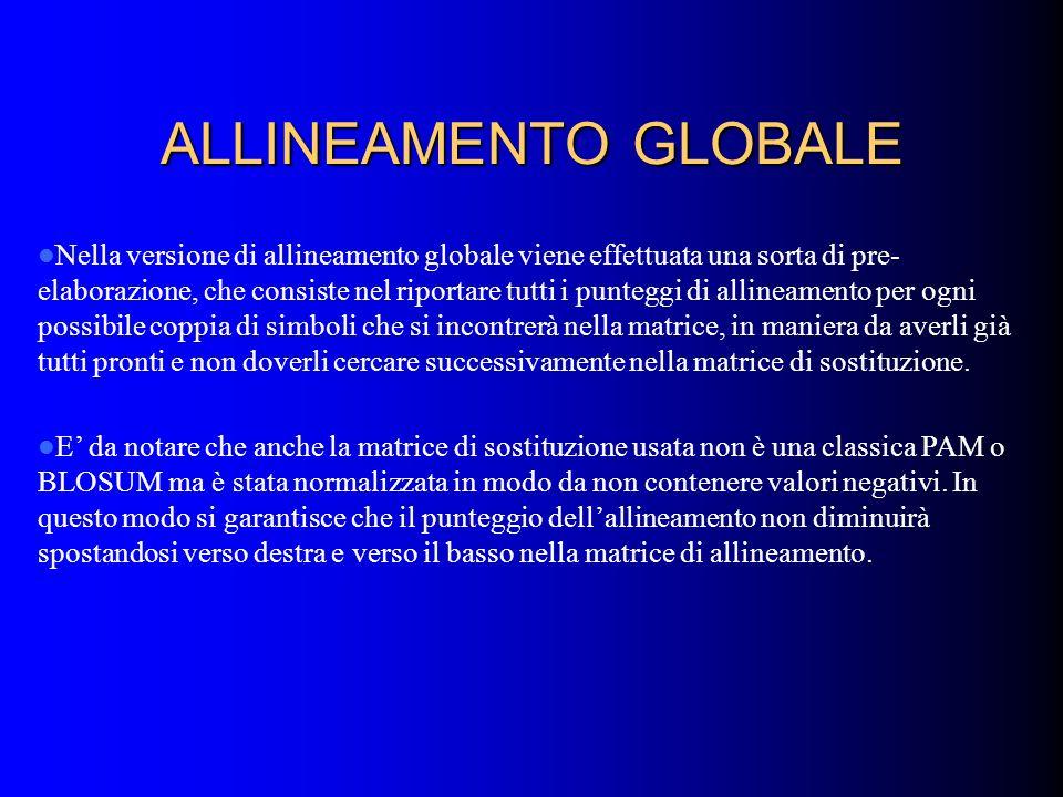 ALLINEAMENTO GLOBALE Nella versione di allineamento globale viene effettuata una sorta di pre- elaborazione, che consiste nel riportare tutti i punteg