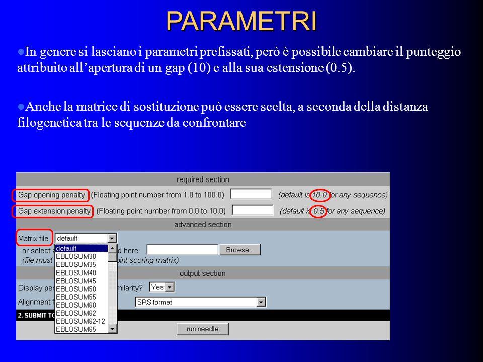 PARAMETRI In genere si lasciano i parametri prefissati, però è possibile cambiare il punteggio attribuito allapertura di un gap (10) e alla sua estensione (0.5).