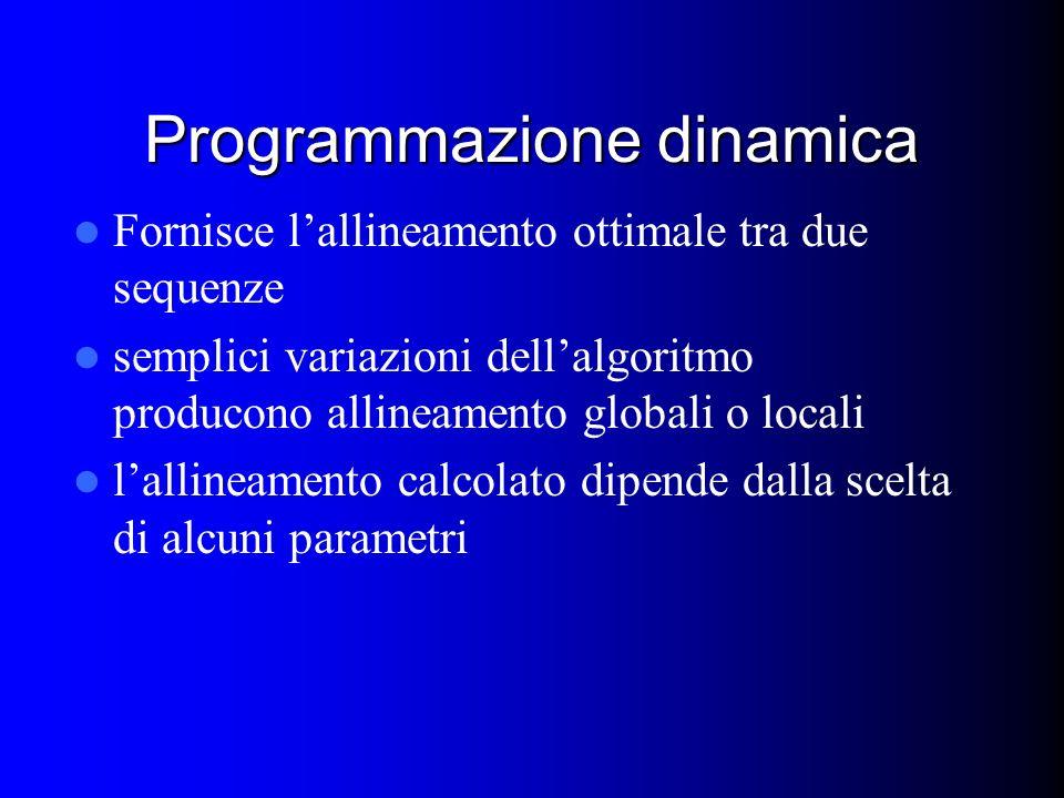 Programmazione dinamica Fornisce lallineamento ottimale tra due sequenze semplici variazioni dellalgoritmo producono allineamento globali o locali lallineamento calcolato dipende dalla scelta di alcuni parametri