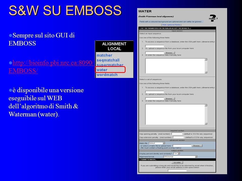 S&W SU EMBOSS Sempre sul sito GUI di EMBOSS http://bioinfo.pbi.nrc.ca:8090/ EMBOSS/ http://bioinfo.pbi.nrc.ca:8090/ EMBOSS/ è disponibile una versione eseguibile sul WEB dellalgoritmo di Smith & Waterman (water).