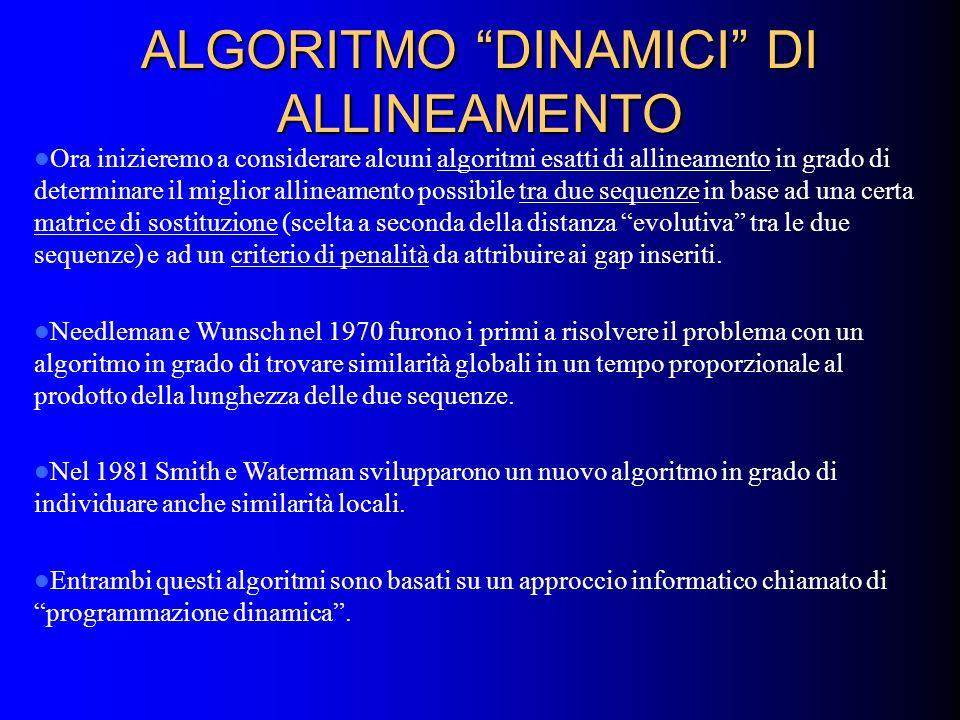ALGORITMO DINAMICI DI ALLINEAMENTO Ora inizieremo a considerare alcuni algoritmi esatti di allineamento in grado di determinare il miglior allineament