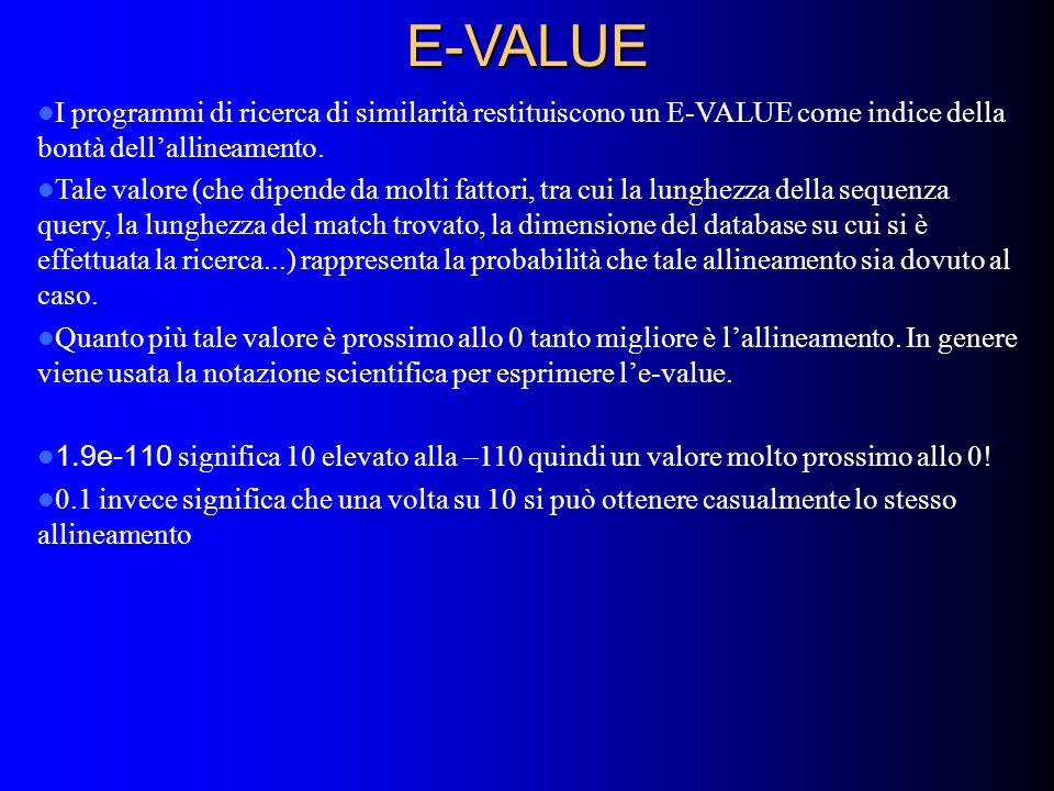 E-VALUE I programmi di ricerca di similarità restituiscono un E-VALUE come indice della bontà dellallineamento. Tale valore (che dipende da molti fatt