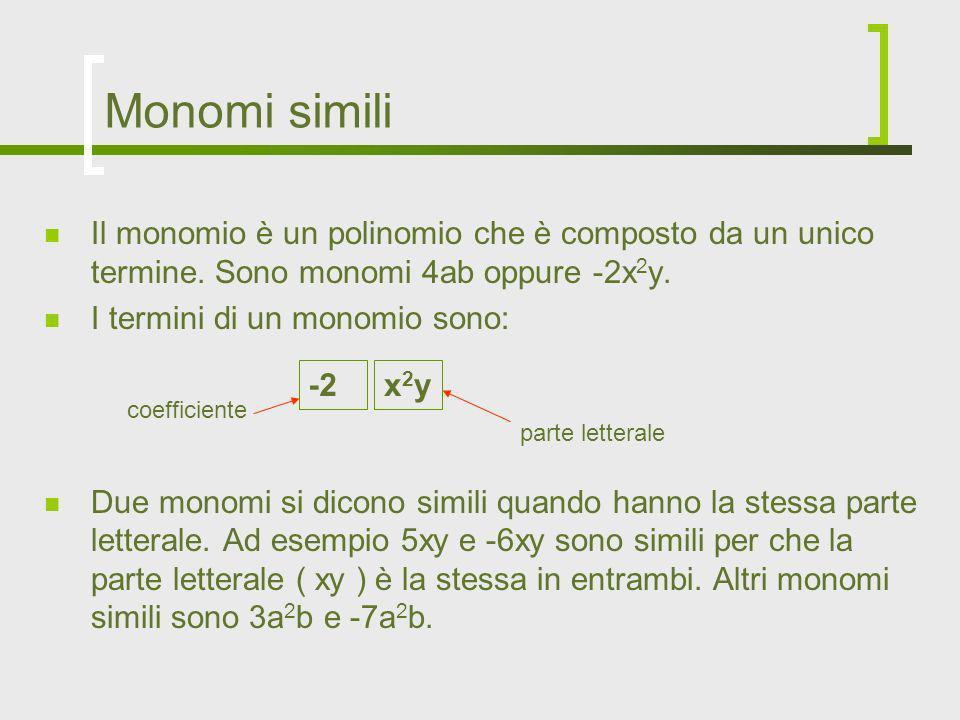Monomi simili Il monomio è un polinomio che è composto da un unico termine. Sono monomi 4ab oppure -2x 2 y. I termini di un monomio sono: Due monomi s