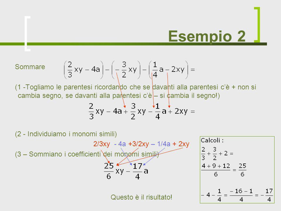 Esempio 2 Sommare (1 -Togliamo le parentesi ricordando che se davanti alla parentesi cè + non si cambia segno, se davanti alla parentesi cè – si cambi