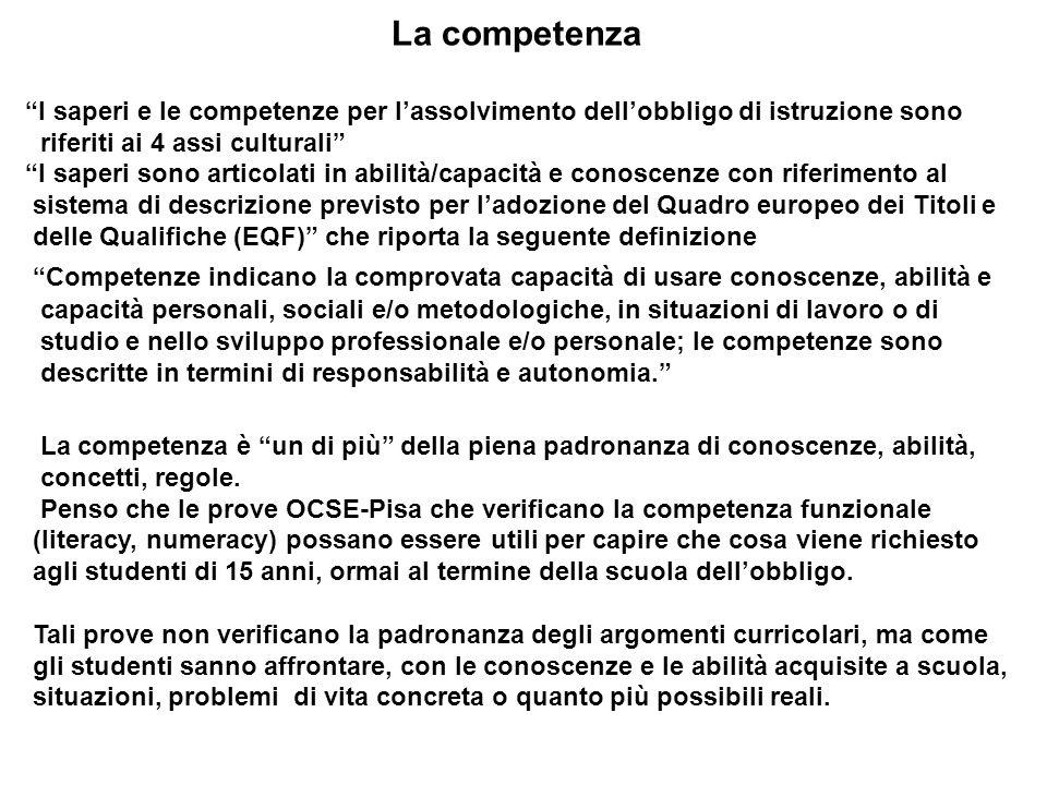 La competenza I saperi e le competenze per lassolvimento dellobbligo di istruzione sono riferiti ai 4 assi culturali I saperi sono articolati in abili