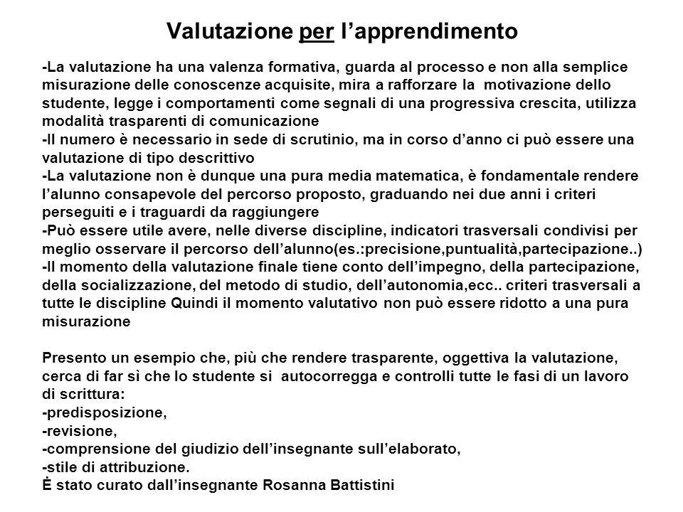 Valutazione per lapprendimento -La valutazione ha una valenza formativa, guarda al processo e non alla semplice misurazione delle conoscenze acquisite