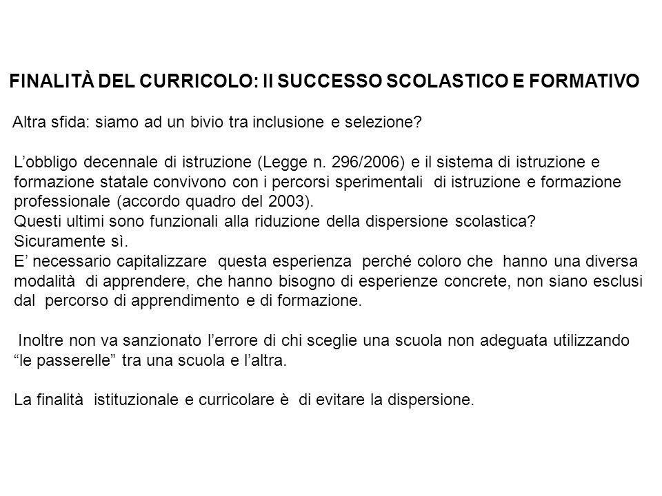 FINALITÀ DEL CURRICOLO: Il SUCCESSO SCOLASTICO E FORMATIVO Altra sfida: siamo ad un bivio tra inclusione e selezione.