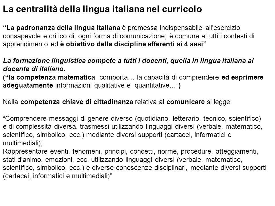 La centralità della lingua italiana nel curricolo La padronanza della lingua italiana è premessa indispensabile allesercizio consapevole e critico di
