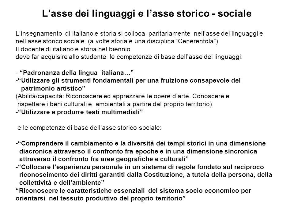 Lasse dei linguaggi e lasse storico - sociale Linsegnamento di italiano e storia si colloca paritariamente nellasse dei linguaggi e nellasse storico s