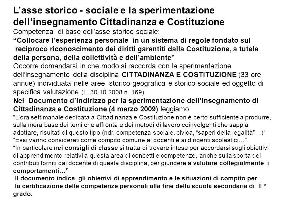 Lasse storico - sociale e la sperimentazione dellinsegnamento Cittadinanza e Costituzione Competenza di base dellasse storico sociale: Collocare lespe