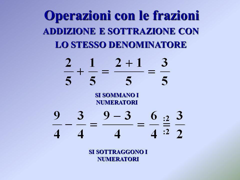 ADDIZIONE E SOTTRAZIONE CON LO STESSO DENOMINATORE SI SOMMANO I NUMERATORI SI SOTTRAGGONO I NUMERATORI :2