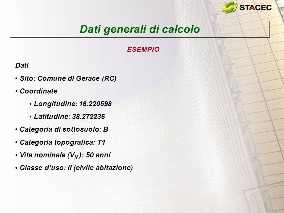 Dati generali di calcolo ESEMPIO Dati Sito: Comune di Gerace (RC) Coordinate Longitudine: 16.220598 Latitudine: 38.272236 Categoria di sottosuolo: B C