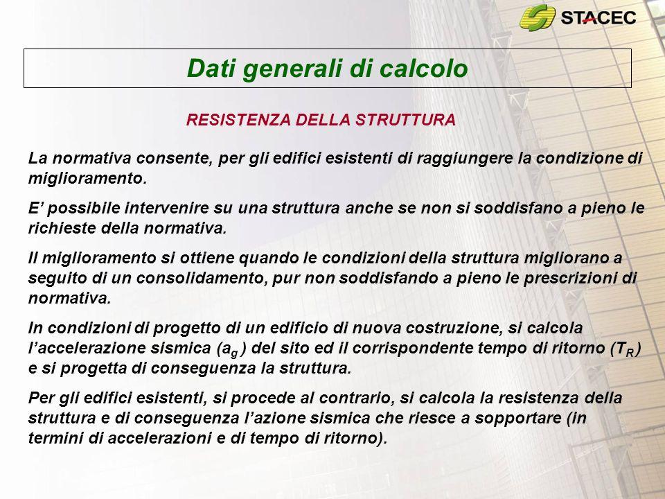 Dati generali di calcolo RESISTENZA DELLA STRUTTURA La normativa consente, per gli edifici esistenti di raggiungere la condizione di miglioramento. E