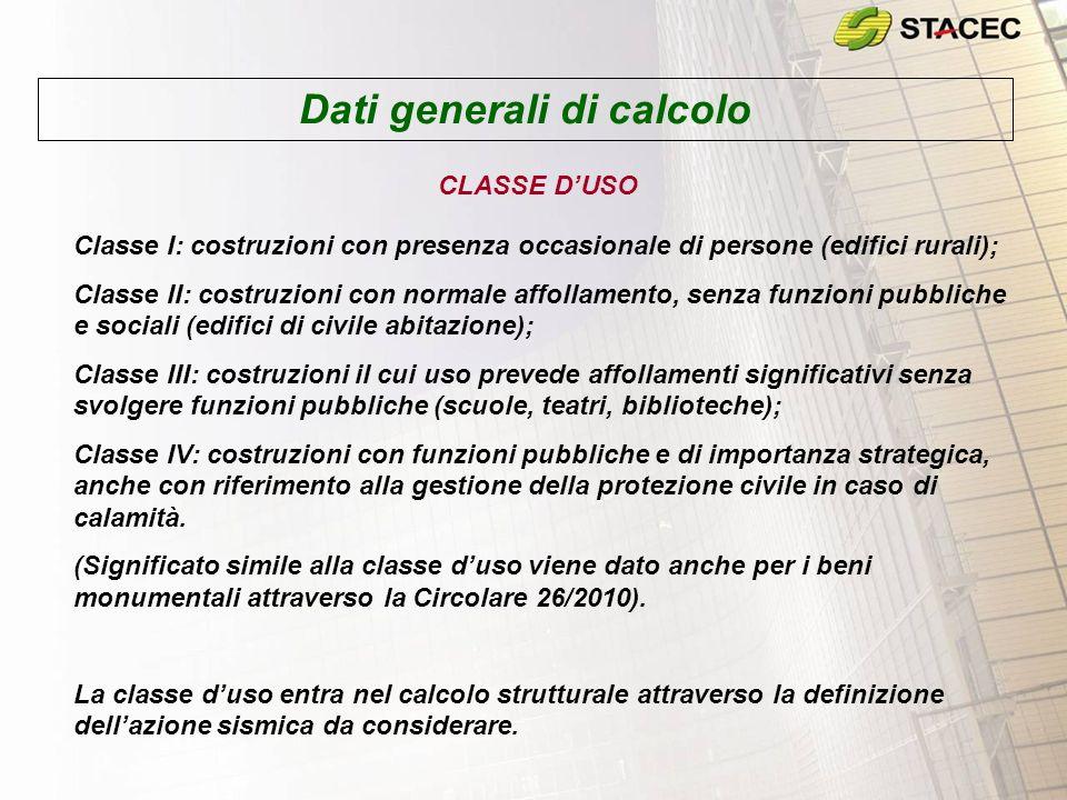 Dati generali di calcolo CLASSE DUSO Classe I: costruzioni con presenza occasionale di persone (edifici rurali); Classe II: costruzioni con normale af